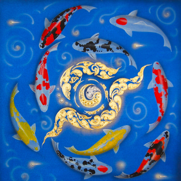 9 Koi Fish Painting Framed
