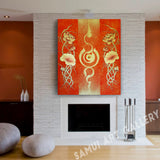 Thai Golden Lotus Flower Abstract Art On Canvas Framed