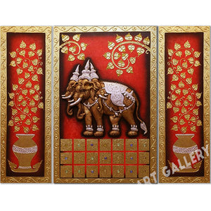 Ancient Thai Elephant Mixed Media Painting Framed
