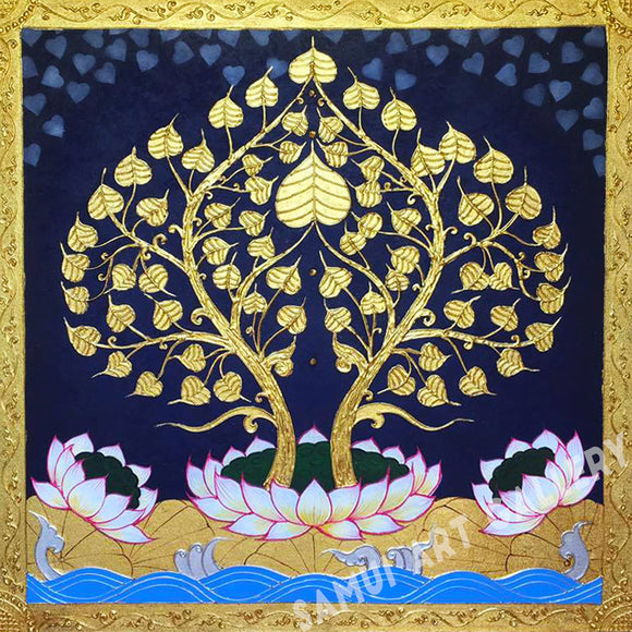 Buddha Bodhi Golden Tree Abstract Canvas Art Framed