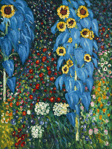 Farm Garden with Sunflowers Gustav Klimt Famous Painting