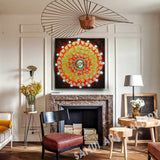 Gold Bodhi Leaf Mandala Abstract Canvas Painting Framed