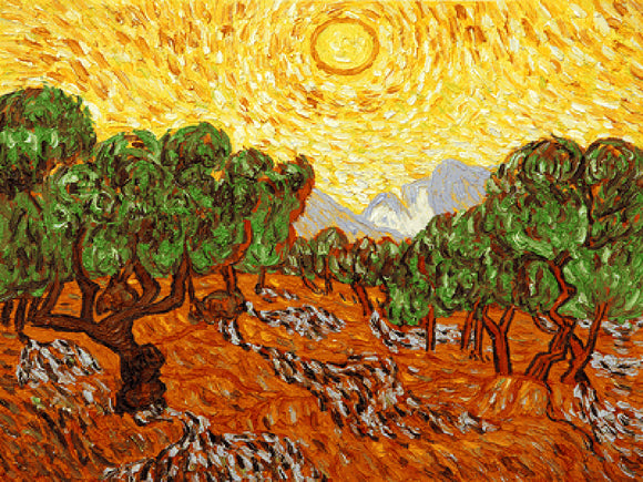 Olive Trees with Yellow Sun and Sky Vincent Van Gogh