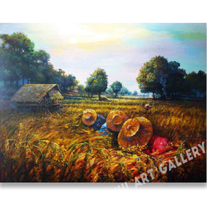 Planting Rice Original Oil Painting On Canvas Framed