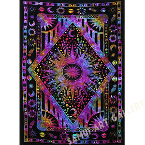 "Psychedelic Celestial Sun Moon Planet Bohemian Tapestry Wall Hanging 54""x84"""