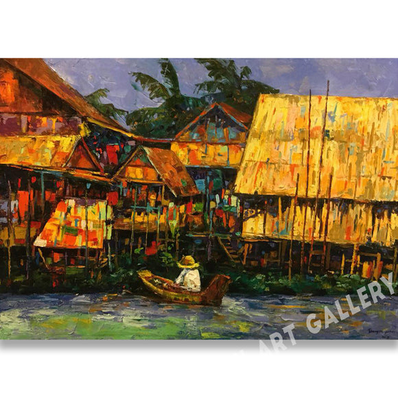 Original Thai Canal Life Oil Painting On Canvas Framed