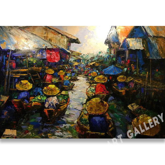 Original Thai Floating Market Oil Painting On Canvas Framed