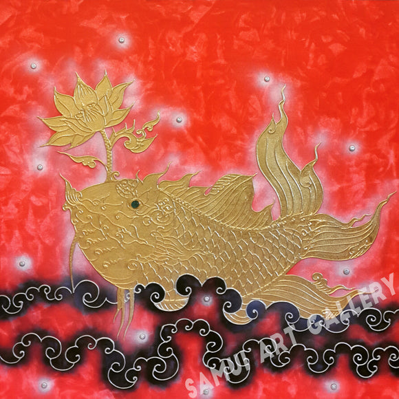 Stunning Golden Fish Thai Abstract Art On Canvas Framed