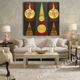 Red Maroon Thai Patterns Canvas Wall Art Framed