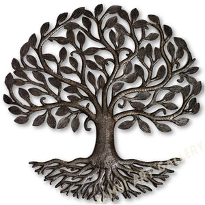 "Tree of Life with Roots Metal Wall Art Hanging Home Decor 23"" X 23"""