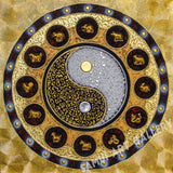 Gold Yin Yang Mandala Zodiac Symbol Abstract Art Wall Painting Framed
