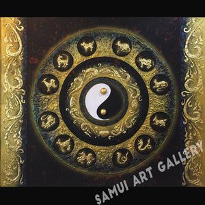 Yin Yang and Thai Zodiacs Contemporary Painting Framed