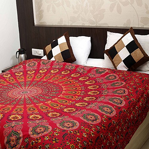 Golden Red Indian Hippie Bohemian Psychedelic Peacock Mandala Tapestry Wall Hanging