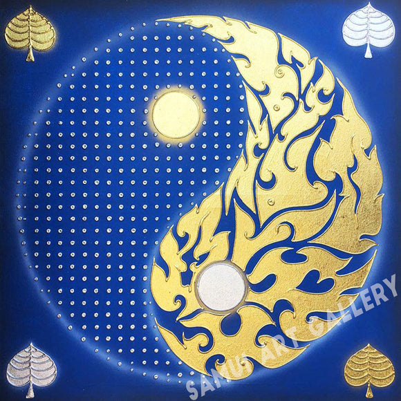 Blue Yin Yang Painting Abstract Wall Art Framed
