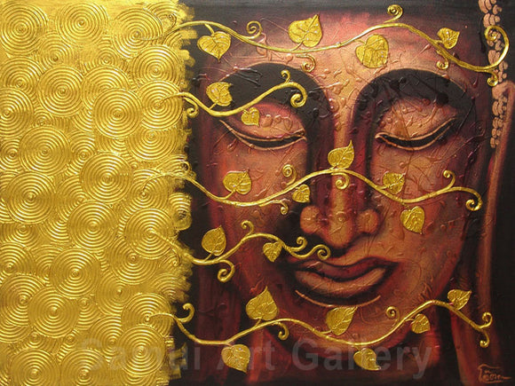 Thai Buddha Contemporary Art Mixed Media Painting