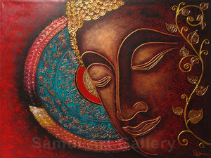 Unique Original Thai Buddha Contemporary Art Mixed Media
