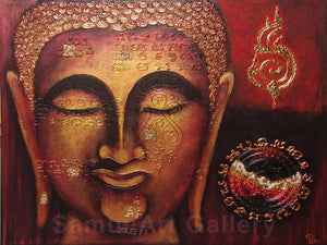 Stunning Buddha Face Thai Contemporary Art Mixed Media