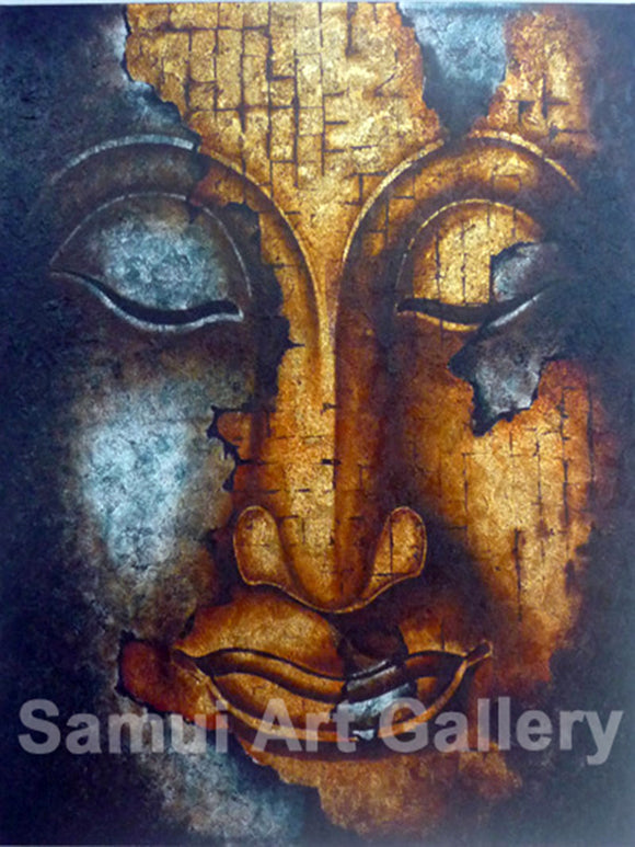 Golden Blue Buddha Face Contemporary Art Mixed Media Painting
