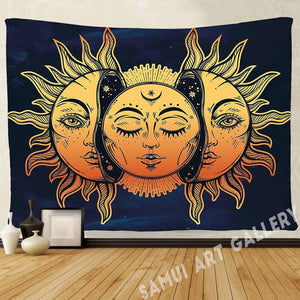 Sun & Moon Psychedelic Asian Tapestry Wall Hanging Bedroom Dorm Decor