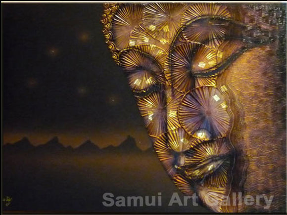 Meditation Thai Buddha Contemporary Art Mixed Media Painting on Canvas