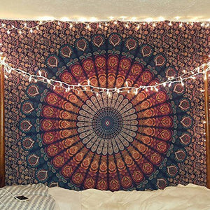 Golden Blue Indian Hippie Bohemian Psychedelic Peacock Mandala Tapestry