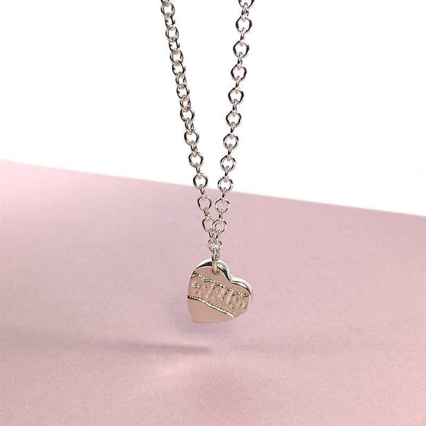 Cariad: etched heart charm bracelet