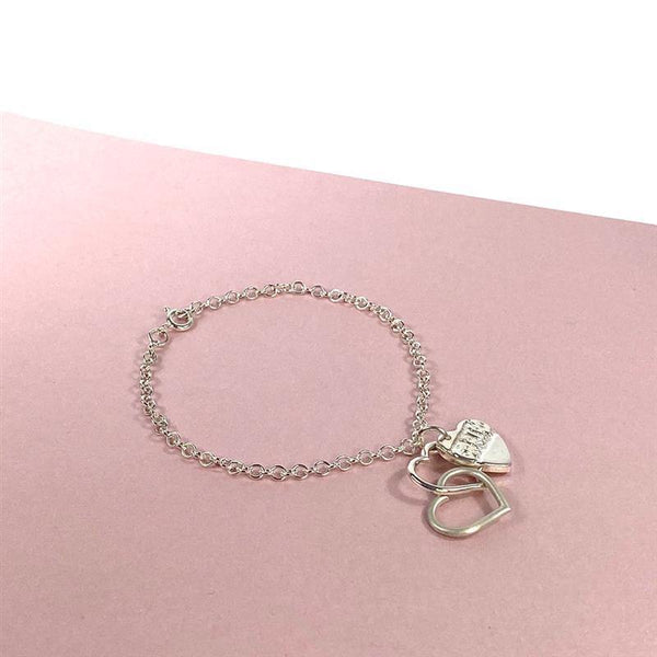 Cariad: linked hearts with etched heart charm bracelet