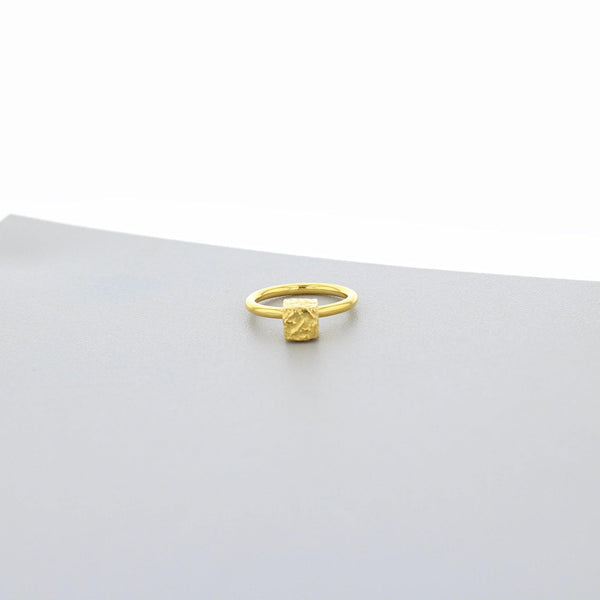 Cofio Cube: Gold Plated Silver Ring