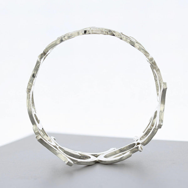 Crescent: Wide silver bangle
