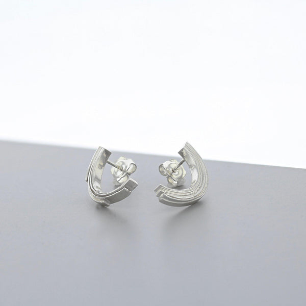 Crescent: Silver Half Arc Earrings