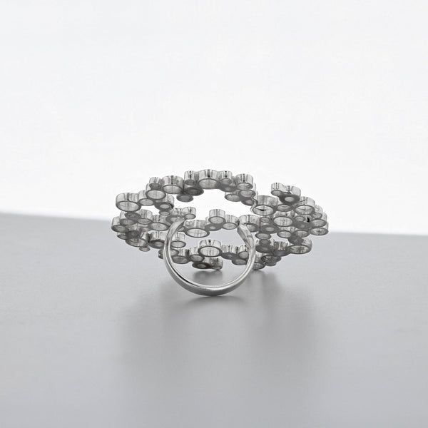 Bubbles: large statement ring, silver - Mari Thomas Jewellery