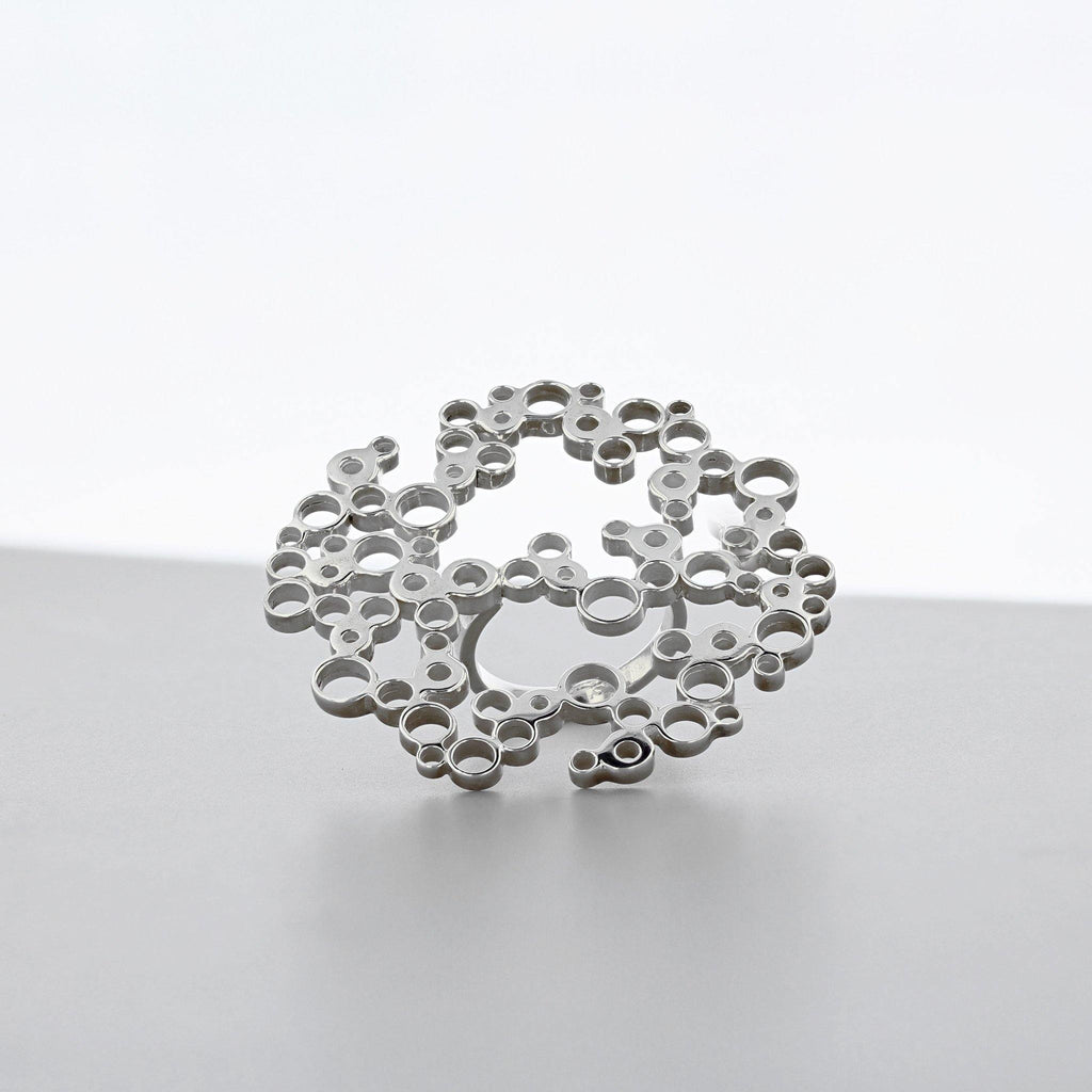 Bubbles: large statement ring, silver
