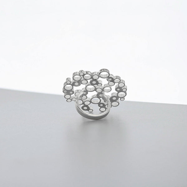 Bubbles: medium statement ring, silver