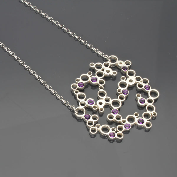 Large bubbles pendant, Silver with Amethyst - Mari Thomas Jewellery