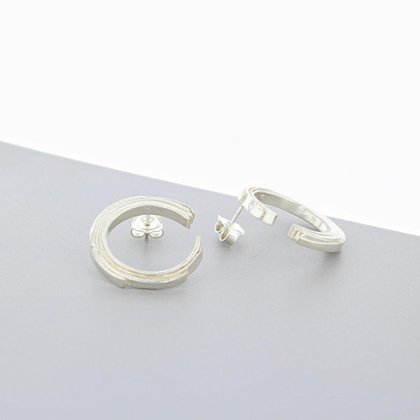 Crescent: Silver Earrings