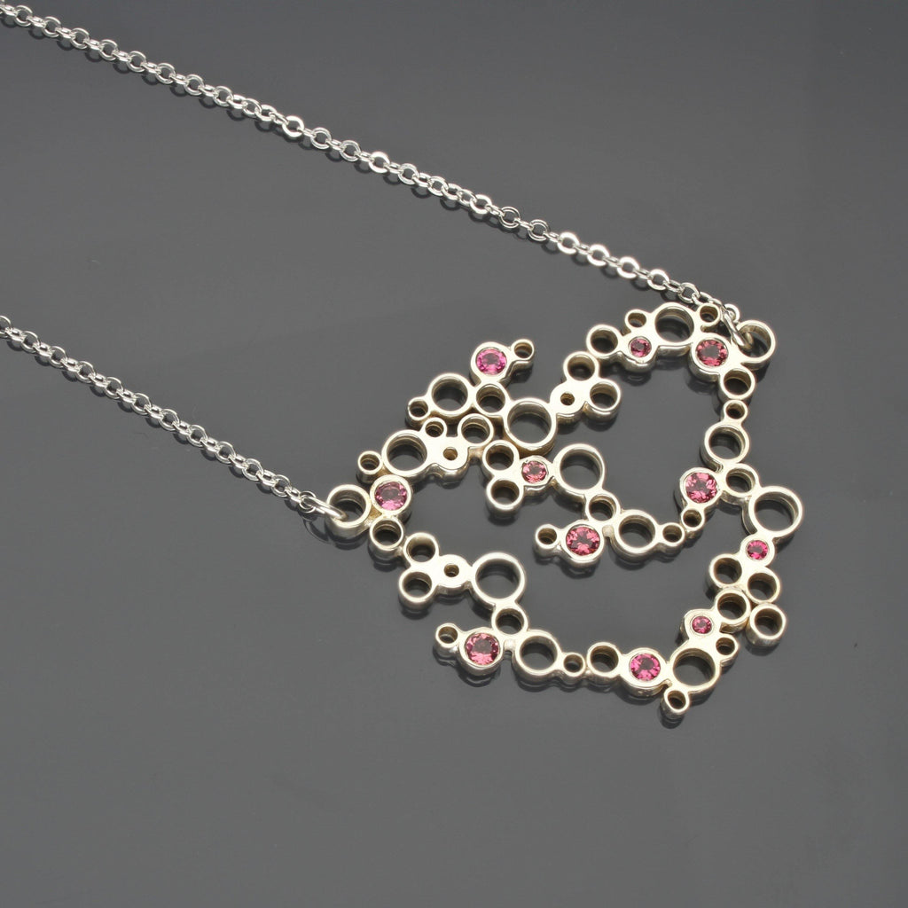 Medium Bubbles pendant, Silver with Pink Tourmaline - Mari Thomas Jewellery