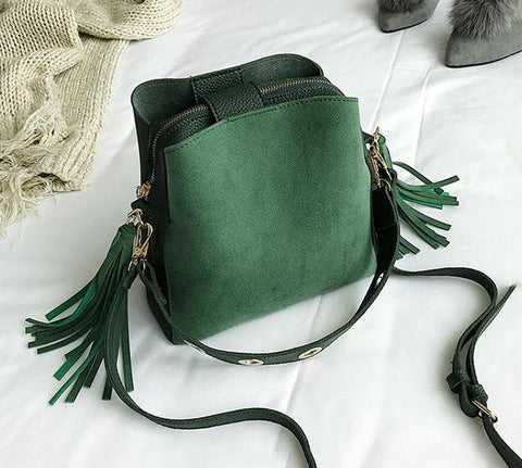 Tassel Crossbody Bucket Bag
