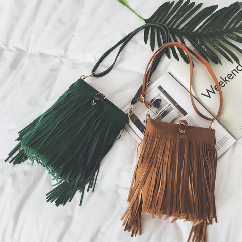 Gillian Faux Suede Fringe Tassel Messenger Bag