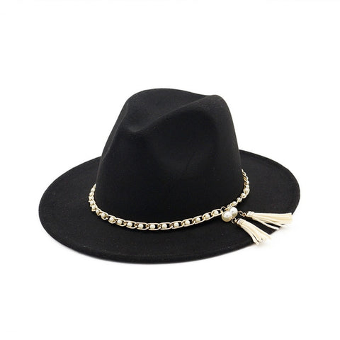 Wide-brimmed Felt Panama Hat with Pearl Tassel Chain