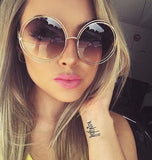 Round Oversized Mirror Sunglasses