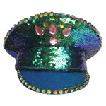 Blue Sequin Captain Hat