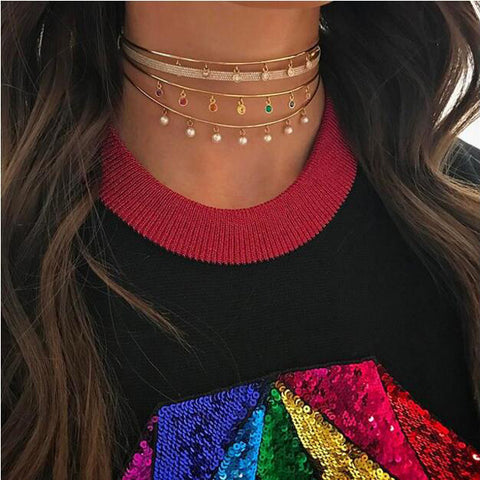 Rainbow Dots Choker