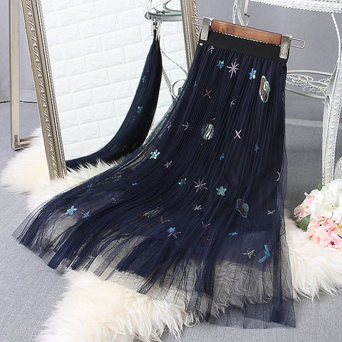 Galactic Planet Mesh Tulle Pleated Skirt