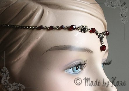 Elfen Celtic Tiara Necklace Circlet Clear Fairy Wedding Bronze Choose your Beads Colors - korrigane