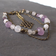Charger l'image dans la galerie, Bracelet Kendoniañ - Entrelacs Celtes - Améthyste, Jaspe & Quartz - Artisanat Made In Brocéliande - Bretagne - France - Lithothérapie - korrigane