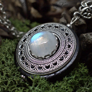 Collier de Protection Pendentif 'Amddiffyn' Labradorite Blanche - Rainbow Moonstone - Bois - paganisme - WICCA