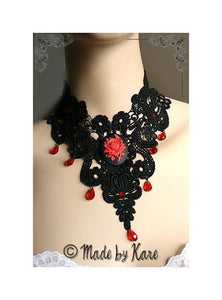 Dramatic Red Collier Tour de Cou Noir Victorien