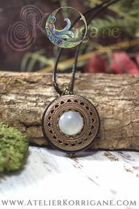 Amulette Collier Protection 'Amddiffyn' en Agate Blanche