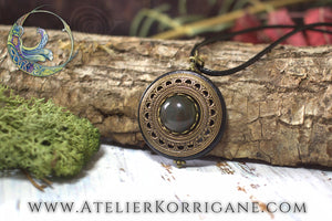Amulette Collier Protection 'Amddiffyn' en Agate Indienne