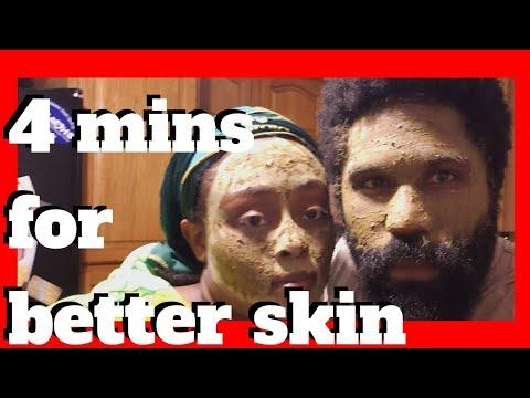 4-MINUTE CLEAR SKIN ROUTINE Using Raw African Black Soap AND Bentonite Clay Based Face Mask